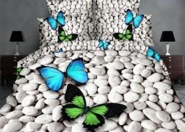 Lenjerie de pat 3D digital print, Ralex Pucioasa, Butterfly on stone + fata de masa cadou Natur 140x220cm