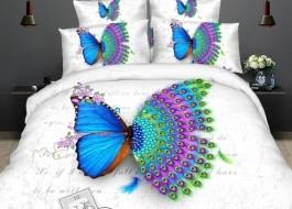 Lenjerie de pat 3D digital print, Ralex Pucioasa, Butterfly peacock + fata de masa cadou Natur 140x220cm