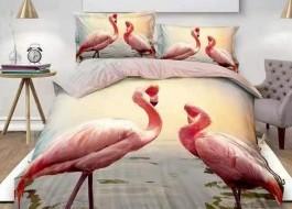 Oferta 1+1gratis: Lenjerie de pat 3D digital print, Ralex Pucioasa, Flamingo V9