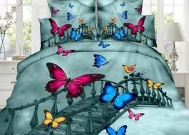 Lenjerie de pat 3D digital print, Ralex Pucioasa, Podul Fluturilor  + fata de masa cadou Natur 140x220cm