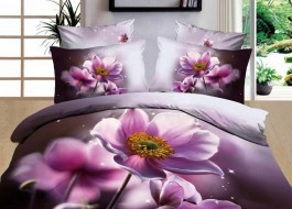 Lenjerie de pat 3D digital print, Ralex Pucioasa, Purple Flower + fata de masa cadou Natur 140x220cm