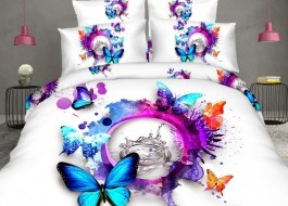 Oferta 1+1gratis: Lenjerie de pat 3D digital print, Ralex Pucioasa, Rainbow Butterfly
