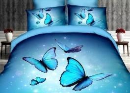 Lenjerie de pat 3D Pucioasa, bumbac satinat, Magic Butterflies