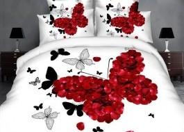 Oferta 1+1gratis: Lenjerie de pat Lenjerie de pat 3D digital print, Ralex Pucioasa, Red Butterfly