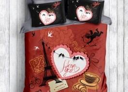 Lenjerie de pat 3D ranforce cu 3 piese Romantic