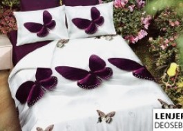 Oferta 1+1gratis: Lenjerie de pat dublu 4 piese Fluture 99