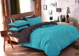 Oferta 1+1gratis: Lenjerie de pat dublu 4 piese albastru cu gri intens MX50