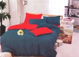 Oferta 1+1gratis: Lenjerie de pat dublu 4 piese albastru cu roz fuchsia MX38