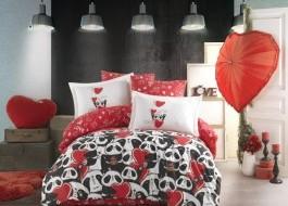 Lenjerie de pat bumbac 100% poplin, Hobby Home, Amore - Red