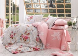 Lenjerie de pat bumbac 100% poplin, Hobby Home, Clementina - Pink