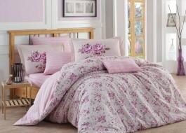 Lenjerie de pat bumbac 100% poplin, Hobby Home, Flora - Lilac