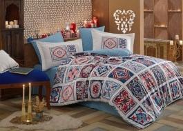 Lenjerie de pat bumbac 100% poplin, Hobby Home, Mozaique - Turquoise