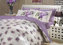 Lenjerie de pat bumbac 100% poplin, Hobby Home, Paris Spring - Lilac