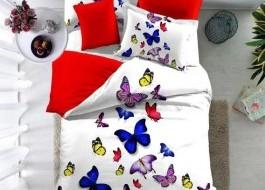 Lenjerie de pat bumbac 100% poplin satinat 3D, Ralex Pucioasa,  Colored Butterflies