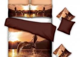 Lenjerie de pat bumbac 100% poplin satinat 3D, Ralex Pucioasa,  Dolphins