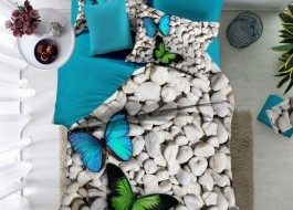 Lenjerie de pat bumbac 100% poplin satinat 3D, Ralex Pucioasa, Butterflies v02