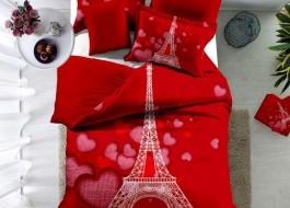 Lenjerie de pat bumbac 100% poplin satinat 3D , Ralex Pucioasa, Paris Love v04