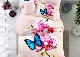 Lenjerie de pat bumbac 100% poplin satinat 3D , Ralex Pucioasa, Sweet Butterfly