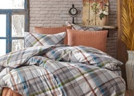 Lenjerie de pat bumbac 100% ranforce, Bahar Home, Plaid V1