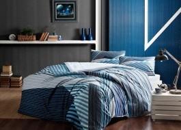 Lenjerie de pat cu elastic pentru saltea de 160x200cm, bumbac 100% ranforce, TAC, Atlantis