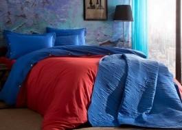 Lenjerie de pat cu elastic pentru saltea de 160x200cm, bumbac 100% ranforce, TAC, Colorful Kirmizi