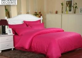 Lenjerie de pat damasc gros 1 persoana, culoarea Rosu Corai