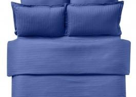 Lenjerie de pat damasc cu 2 cearceafuri pilota culoarea albastru