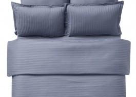 Lenjerie de pat damasc cu 2 cearceafuri pilota culoarea antracit