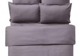 Lenjerie de pat damasc cu 2 cearceafuri pilota culoarea maro
