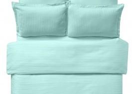 Lenjerie de pat damasc cu 2 cearceafuri pilota culoarea mint