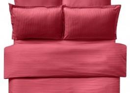 Lenjerie de pat damasc cu 2 cearceafuri pilota culoarea rosu