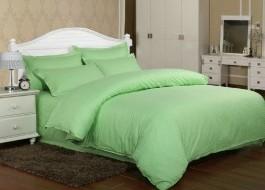 Lenjerie de pat damasc cu 2 cearceafuri pilota culoarea verde