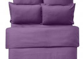 Lenjerie de pat damasc cu 6 piese culoarea mov inchis