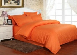 Lenjerie de pat damasc cu 6 piese culoarea portocaliu