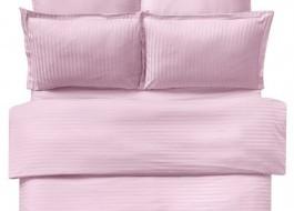Lenjerie de pat damasc cu 6 piese culoarea roz pudra