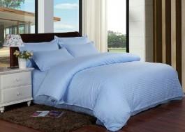 Lenjerie de pat damasc cu elastic ptr saltea de 100cm - bleu
