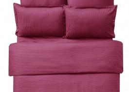 Lenjerie de pat damasc cu elastic ptr saltea de 100cm - bordo
