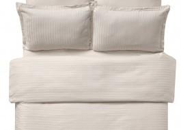 Lenjerie de pat damasc cu elastic ptr saltea de 100cm - cappuccino
