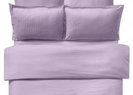 Lenjerie de pat damasc cu elastic ptr saltea de 100cm - lila