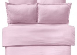 Lenjerie de pat damasc cu elastic ptr saltea de 100cm - roz pudra