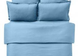 Lenjerie de pat damasc cu elastic ptr saltea de 100cm - turcoaz