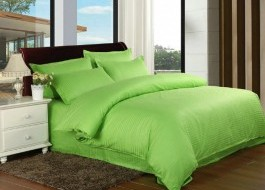 Lenjerie de pat damasc cu elastic ptr saltea de 100cm - verde aprins