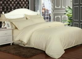 Lenjerie de pat damasc cu elastic ptr saltea de 140cm - crem