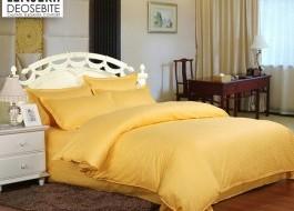 Lenjerie de pat damasc cu elastic ptr saltea de 140cm - galben