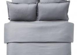 Lenjerie de pat damasc cu elastic ptr saltea de 140cm - gri