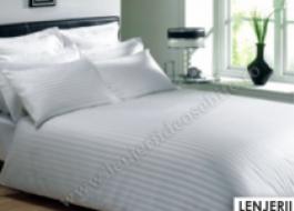 Lenjerie de pat damasc cu elastic ptr saltea de 160cm - alb