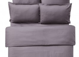 Lenjerie de pat damasc cu elastic ptr saltea de 160cm - maro