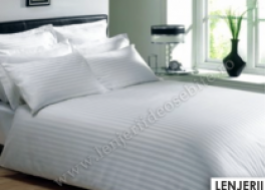 Lenjerie de pat damasc cu elastic ptr saltea de 180cm - alb
