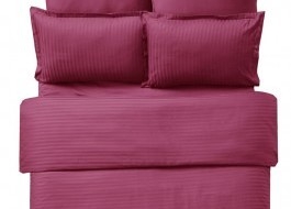 Lenjerie de pat damasc cu elastic ptr saltea de 180cm - bordo