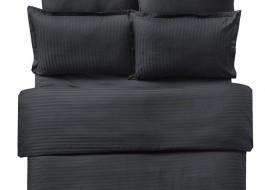 Lenjerie de pat damasc cu elastic ptr saltea de 180cm - negru